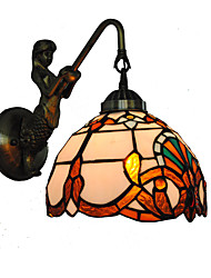 cheap -Diameter 20cm Retro Country Mermaid Tiffany Wall Lights Glass Shade Living Room Bedroom light Fixture