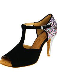 "Women's Latin Flocking Sandal Performance Buckle Paillette High Heel Black 3"" - 3 3/4"" Customizable"