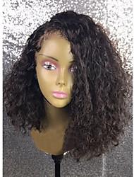 Недорогие -жен. Бразильские волосы Натуральные волосы 360 Лобовой 250% плотность Ассиметричная стрижка С пушком Парик Черный Короткий Средний