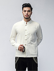 cheap -Men's Daily Plus Size Casual Chinoiserie Spring Fall Shirt,Solid Classic Collar Long Sleeves Linen Medium