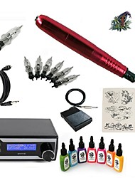 cheap -Tattoo Machine Starter Kit 1 rotary machine liner & shader LED power supply 5 x disposable grip 5 pcs Tattoo Needles