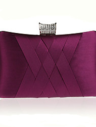 cheap -Women Bags Satin Evening Bag Crystal Detailing for Wedding Event/Party All Seasons Purple Almond Fuchsia Wine Royal Blue