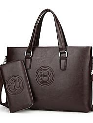economico -Uomo Sacchetti PU (Poliuretano) sacchetto regola Set di borsa da 2 pezzi Cerniera per Formale Per tutte le stagioni Nero Marrone