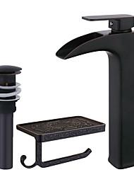 Conjunto Central Cascata with  Válvula Cerâmica Monocomando e Uma Abertura for  Bronze Polido a Óleo , Torneira pia do banheiro
