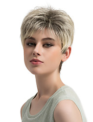 cheap -Women Synthetic Wig Capless Short Straight Brown/White Ombre Hair Pixie Cut With Bangs Natural Wigs Costume Wig
