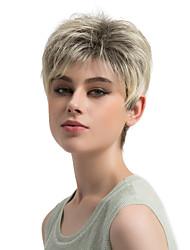 abordables -Pelucas sintéticas Recto Corte Pixie / Con flequillo Pelo sintético Pelo Ombre Marrón Peluca Mujer Corta Sin Tapa