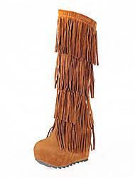 preiswerte -Damen Schuhe Kunstleder Winter Herbst Komfort Neuheit Pumps Stiefel Keilabsatz Quaste für Hochzeit Normal Kleid Party & Festivität Büro &