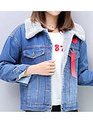 cheap -Women's Denim Jacket Coat,Casual Daily Letter-Lamb Fur Wool Long Sleeves