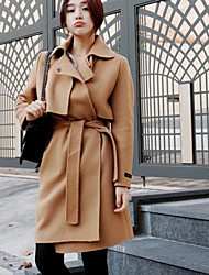 cheap -Women's Daily Simple Casual Winter Fall Coat,Solid Peaked Lapel Long Sleeve Long Others