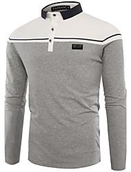 cheap -Men's Cotton Slim T-shirt Print Shirt Collar