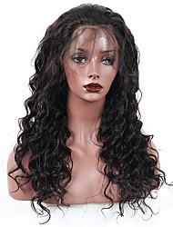 Недорогие -жен. Перуанские волосы Натуральные волосы 360 Лобовой 180% плотность С пушком Свободные волны Парик Черный Средний