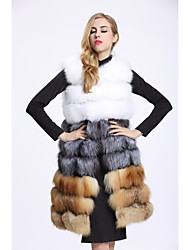 Feminino Colete Casual Sofisticado Inverno,Estampa Colorida Longo Pêlo de Raposa Decote Redondo