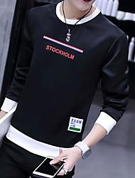 cheap -Men's Long Sleeves Sweatshirt - Letter Round Neck