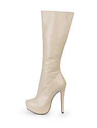 Women's Shoes PU Spring Winter Fashion Boots Boots Round Toe Knee High Boots For Party & Evening Dress Nude Beige Black