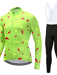 cheap -FUALRNY® Cycling Jersey with Bib Tights Men's Long Sleeves Bike Clothing Suits High Elasticity Fleece Winter Cycling/Bike Green
