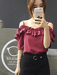 cheap -Women's Going out Cute Casual Blouse,Solid Boat Neck Short Sleeves Cotton