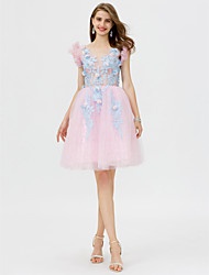 cheap -A-Line V-neck Short / Mini Tulle Cocktail Party Dress with Embroidery Flower(s) by TS Couture®