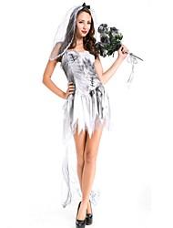preiswerte -Gespenstische Braut Kleid Maskerade Damen Halloween Karneval Silvester Fest / Feiertage Halloween Kostüme Grau Volltonfarbe Vintage