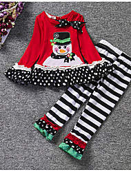 Girls' Print Stripes Sets,Cotton All Seasons Long Pant Clothing Set Christmas Red