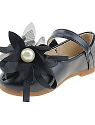 Girls' Shoes Leatherette Spring Fall Comfort Flower Girl Shoes Flats Applique Magic Tape For Wedding Dress Black
