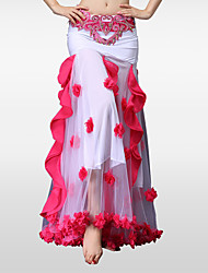 abordables -Danza del Vientre Pantalones y Faldas Mujer Actuación Poliéster Chinlon Plisado 1 Pieza Cintura Baja Faldas