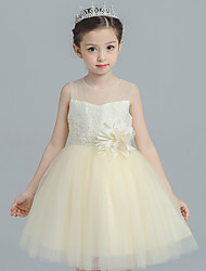 cheap -Ball Gown Princess Knee Length Flower Girl Dress - Satin Tulle Sleeveless Jewel Neck with Flower(s) Lace by Bflower