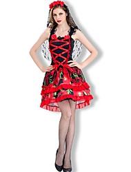 Vampire Mariée Une Pièce/Robes Féminin Halloween Le jour des morts Fête / Célébration Déguisement d'Halloween Noir Rouge Autres