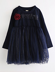 cheap -Girl's Floral Dress,Cotton Fall Long Sleeve Lace Navy Blue