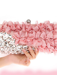 cheap -Women's Bags Chiffon Evening Bag Crystal Detailing Flower for Wedding Event/Party All Seasons Blushing Pink Navy Blue Purple Almond