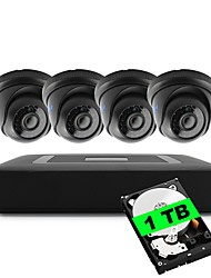4CH 1080N DVR kits Built-in 1TB HDD 4pcs Dome CCTV Camera Security System Indoor Day Night IR-CUT 3.6mm