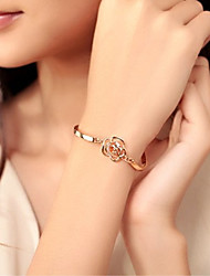 cheap -Women's Bangles Crystal Basic Love Heart Natural Friendship Metallic Fashion Adjustable Personalized Floral Simple Style Gold Gold Plated