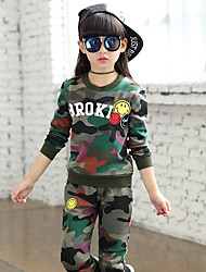 Girls' Camouflage Clothing Set,Cotton Spandex Spring Fall Army Green