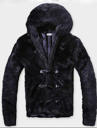 Men's Casual/Daily Simple Fall Winter Fur Coat,Solid Hooded Long Sleeve Regular Faux Fur