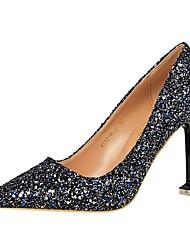 Femme Chaussures Similicuir Printemps Automne Confort Chaussures à Talons Bout pointu Pour Habillé Argent Arc-en-ciel Rouge Bleu royal