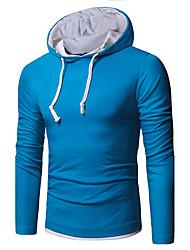 Недорогие -Для мужчин На каждый день Рубашка Рубашечный воротник,Топы Контрастных цветов Длинный рукав,Хлопок,20D