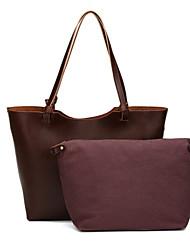 economico -Donna Sacchetti PU (Poliuretano) sacchetto regola Set di borsa da 2 pezzi Cerniera per Casual Per tutte le stagioni Nero Caffè
