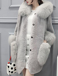 cheap -Women's Going out Cute Street chic Winter Fur Coat,Solid Hooded Long Sleeve Regular Lamb Fur