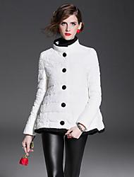economico -Standard Piumino Da donna,Cappotto Classico Per uscire Casual Tinta unita Poliestere Piumino in piuma d'oca bianca Manica lunga
