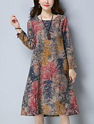 Ample Robe Femme Décontracté / Quotidien Chic de Rue,Imprimé Col Arrondi Mi-long Manches Longues Coton Lin Automne Taille Normale