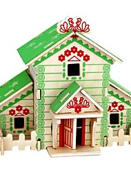cheap -3D Puzzle Wooden Puzzle Wood Model Model Building Kit Houses Fashion House Classic Fashion New Design DIY Hot Sale Wood 1pcs Modern /