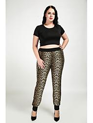 cheap -Women's Plus Size Skinny / Straight Pants - Leopard