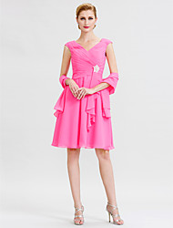 A-Line V-neck Knee Length Chiffon Mother of the Bride Dress with Criss Cross Crystal Brooch by LAN TING BRIDE®