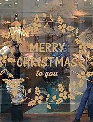 Недорогие -Рождество Цветы Слова и фразы Наклейки Простые наклейки Декоративные наклейки на стены, Винил Украшение дома Наклейка на стену Стена Окно