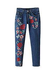 cheap -Women's High Rise Micro-elastic Slim Jeans Chinos Pants Embroidered Cotton Polyester Summer Fall