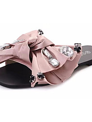 cheap -Women's Shoes Fabric Summer Comfort Slippers & Flip-Flops Walking Shoes Open Toe Bowknot for Outdoor Black / Silver / Pink