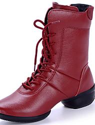 """economico -Da donna Stivaletti da danza Pelle Stivali Esibizione Quadrato Nero Rosso 1 """"- 1 3/4"""""""