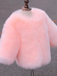 preiswerte -Mädchen Jacke & Mantel Solide Kunst-Pelz Spezieller Felltyp Winter Langarm Weiß Rosa Grau