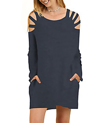 cheap -Women's Daily / Going out Street chic T Shirt Dress - Solid Colored Cut Out / Criss-Cross Mini / Spring / Fall