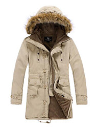 cheap -Men's Padded Coat,Casual Daily Going out Solid-Others Cotton Long Sleeves