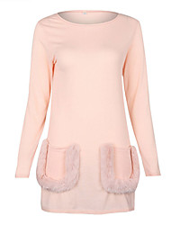 Women's Casual/Daily Street chic Sweatshirt Solid Fur Trim Round Neck Micro-elastic Polyester Spandex Long Sleeve Fall Winter